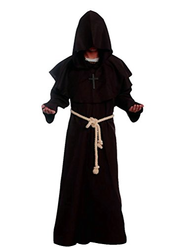 Cos2be Medieval Priest Monk Robe-Hooded Cap Cloak (Large, Coffee) -