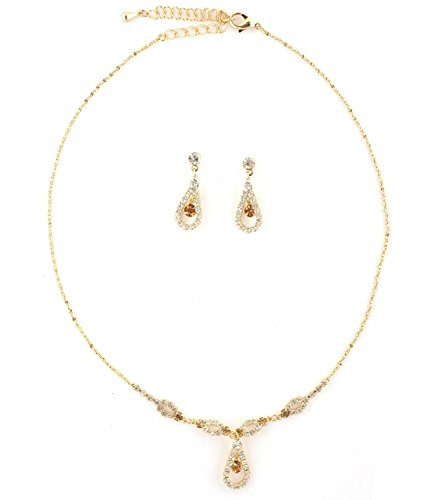 Topwholesalejewel Gold Teardrop Shape Line Necklace with Crystal Inserts & Matching Dangle Earrings  - http://coolthings.us