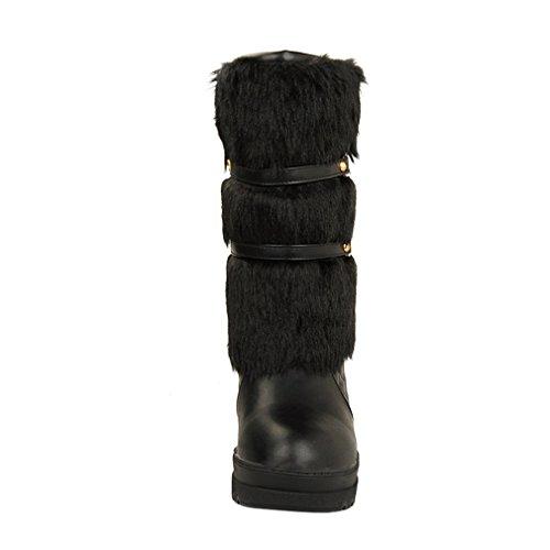ENMAYER para mujer Plataforma peluda caliente plataforma redonda dedo del pie en el bajo talón botas de nieve vestido de fiesta botas de media pantorrilla Negro