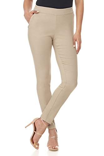 Rekucci Women's Ease in to Comfort Modern Stretch Skinny Pant w/Tummy Control (4,Stone)