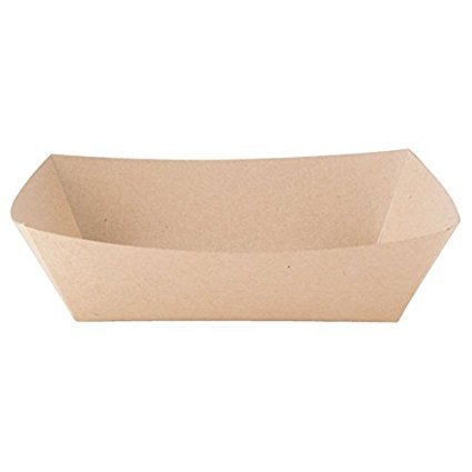 100 ECO Kraft 1 lb Paperboard Food Trays #100 Basket; Made in USA