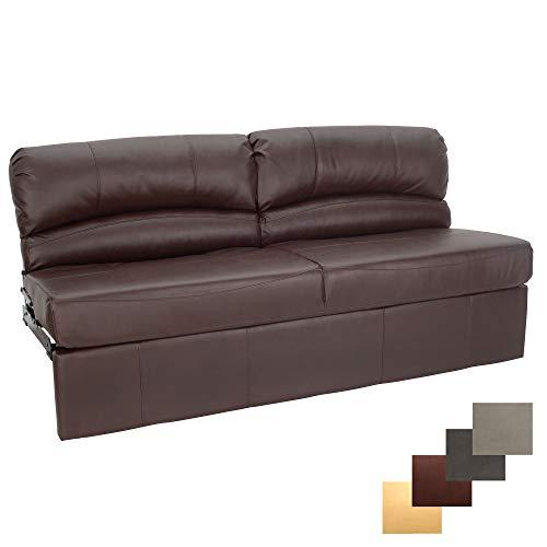 RecPro Charles RV Jackknife Sofa Love Seat Sleeper Sofa Length Options 62 , 68 , 72 72 Inch, Mahogany