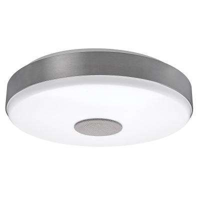 Hampton bay 15 in round brushed nickel with bluetooth speaker bright white integrated led flushmount