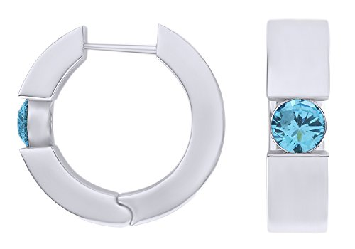 - Round Cut Simulated Aquamarine Huggie Hoop Earrings In 14k White Gold Over Sterling Silver