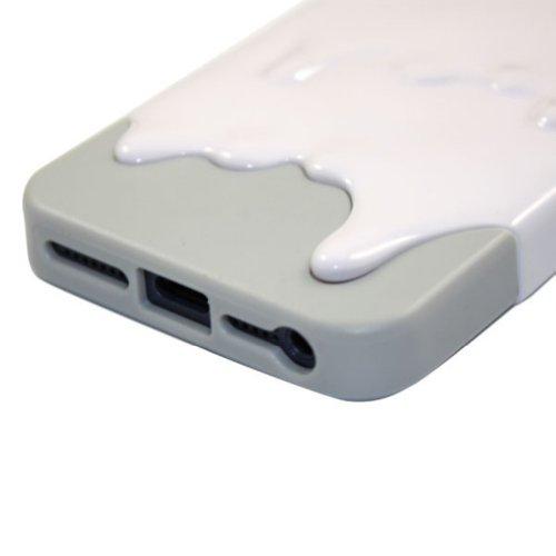 Demarkt Melt Coque Housse 3D Glace fondue Protection pour iPhone 5 Ice Cream dégoulinante Blanc et Gris