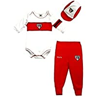 Rêve D'or Sport - Kit Body, Culote, Boné Liso ML São Paulo Unissex, M, Branco/Vermelho/Preto