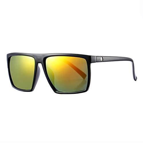 Square Sunglasses for Men Women Oversized Cool Retro Brand Designer Sun Glasses (Black Frame/Red Mirror Lens)