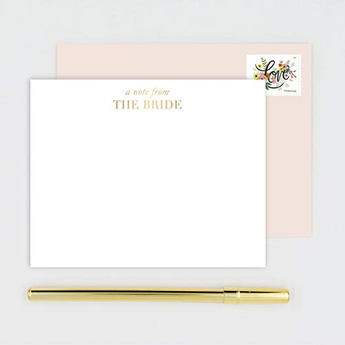Bridal Note Cards - A Note From The Bride Gold Foil Cards - Boxed Stationery Set 10 Flat Cards with Blush Pink ()