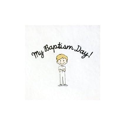 Sud blanco bordado toalla de bautismo – pelo rubio Boy – Mi bautismo día. Toalla