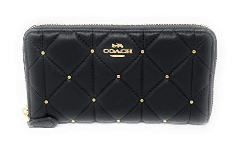 - COACH F39099 ACCORDION ZIP WALLET WITH STUDDED DIAMOND QUILTING BLACK