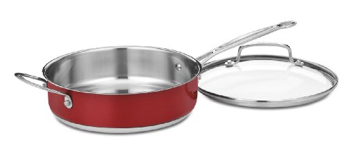 Cuisinart CS330-24HMR Chef's Classic Stainless 3-Quart Saute Pan with Helper Handle and Cover, Metallic Red