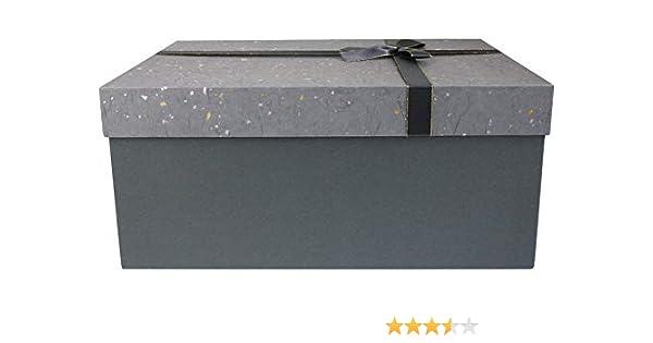 Emartbuy Lujo Rígido Caja de Regalo de Presentación Rectángulo, 35 cm x 25 cm x 15 cm, Caja Gris Oscuro Con Tapa Moteada Gris Plata Dorada Gris Claro, Interior Marrón Chocolate y
