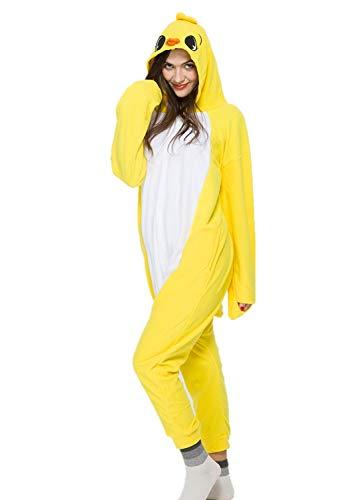 Unisex Animal Halloween Yellow Chicken One-Piece Pyjamas Jumpsuit Cosplay Costumes Adult Womens Men Medium ()