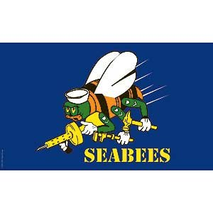 Flag USN Navy Seabees Poly 3ft X 5ft