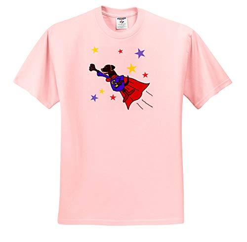 All Smiles Art - Funny - Cute Funny Flying Black Labrador Retriever Dog Superhero - T-Shirts - Adult Light-Pink-T-Shirt Medium (ts_291114_35)