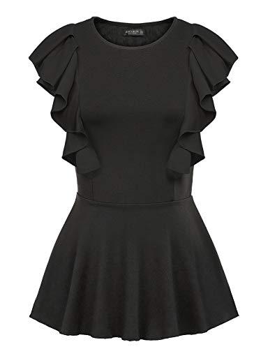 Women Peplum Vest Shirt Crew Neck Sleeveless Elegant Ruffle Blouse Tops Black L