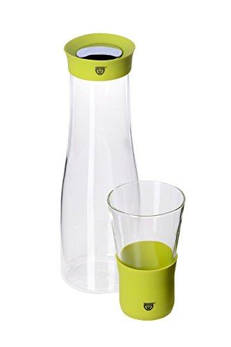 TESTE MICH Glaskaraffe 1 Liter grün inkl. GRATIS Trinkglas