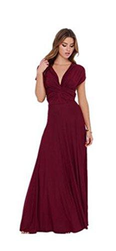para tipo convertible largo para Vestido de Evalent cóctel boda Rosso de mujer pgw7qan