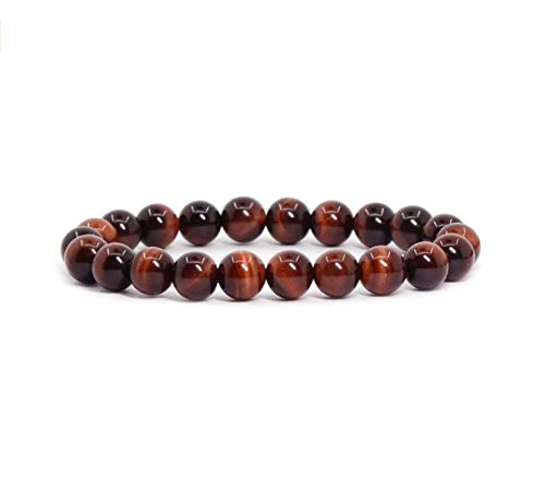 Natural Red Tiger Eye Gemstone Bracelet 7.5 inch Stretchy Chakra Gems Stones Healing Crystals Great Gifts (Unisex) GB8B-43
