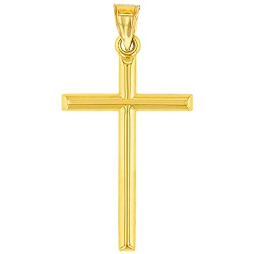 14K Yellow Gold Classic Latin Plain Cross Pendant