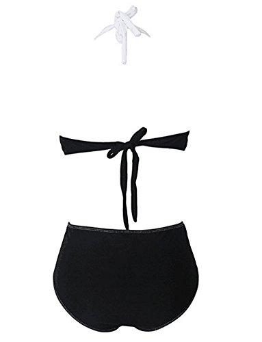 Winever Sexy Damen Bandeau Bikini High Waist Push UP Neckholder Criss Cross Gepolstertes Bikini Sets (S, schwarz und weiß)