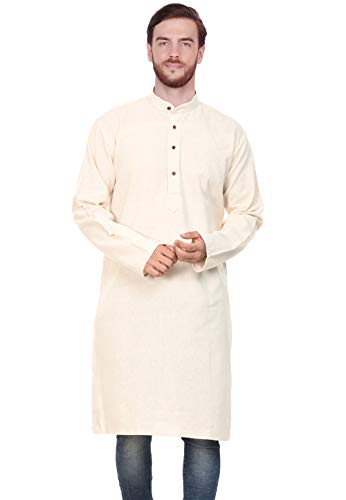 SKAVIJ Men's Tunic Cotton Long Kurta Casual Shirt Modern Fit (X-Large, - Mens Kurta