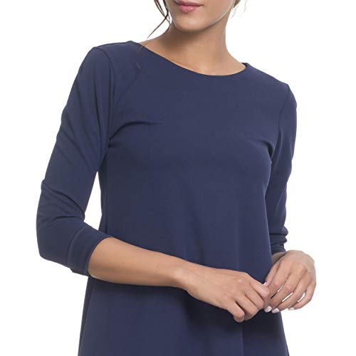 Basique Femme Manches 4 3 Bleu Robe Marine Tantra Unie HfqwYxUn5