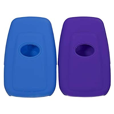 Lcyam Blue Purple Soft Material Silicone 4 Buttons Protective Key Fob Cover Case Fits for Toyota Avalon Corolla Camry RAV4 Prius Smart Keyless Remote: Automotive
