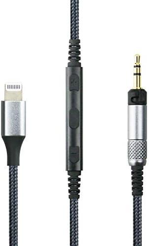 Ersatzkabel kompatibel mit Sennheiser HD598, HD598 SE, HD518, HD598 Cs, HD599, HD569, HD579 Kopfhörer, Fernbedienung Lautstärke und Mikrofon, kompatibel mit iPhone XS/XS Max/XR/X / 8/8 Plus / 7