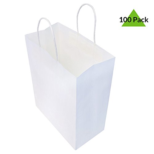 10x5x13 Pack Of 100 White Kraft Paper Bags, Shopping Bags, Merchandise Retail Bags, Party Favor Bags, Gift Bags