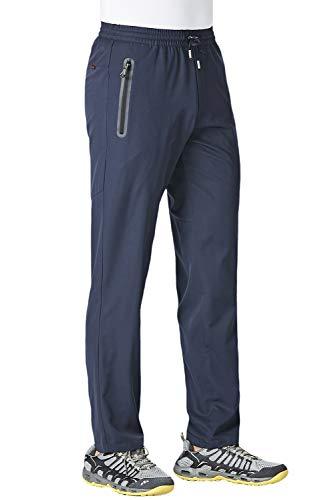 KEFITEVD Athletic Pants for Men Breathable Lightweight Soccer Pants Workout Training Jogging Tapered Sweatpants Navy