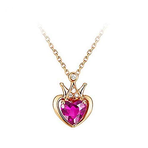 ICHQ Women Jewellery Rose Gold Plated Red Heart Shaped Rhinestone with A Sparkling Swarovski Crystals Pendant Necklaces (Pink)