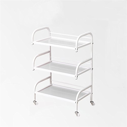 Beauty Car Shelf Iron Art Storage Rack Beauty Salon Yield Iron Art Tool Holder Three-Layer Glass Panel Trolley -Tool cart (Color : White Sand) by Multi-function trolley (Image #5)