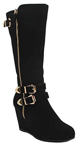 Vrouwen Kunstleer / Faux Suède Gouden Decoratieve Rits Gesp Wig / Dikke Kniehoge Jurk Laarzen Zwarte Kern
