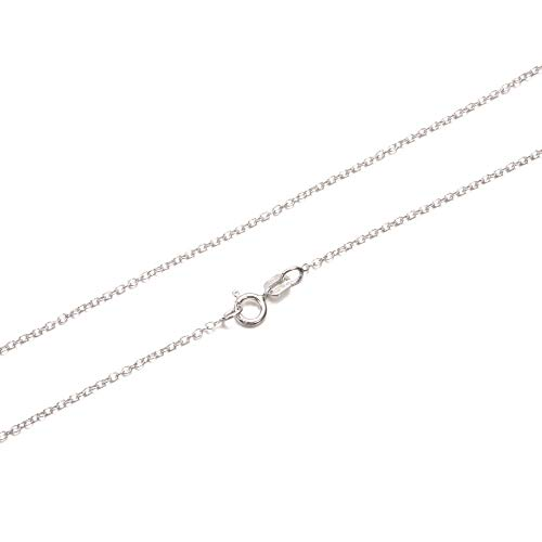 (KEZEF Creations Cable Chain Necklace Sterling Silver Italian 1.3mm Rhodium Plated Nickel Free 14)