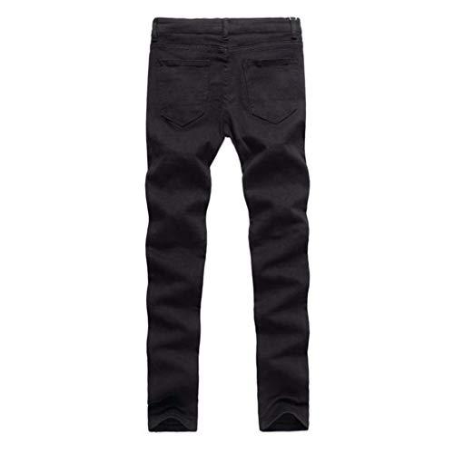 Strappato Fit Distrutti Denim Ginocchio R Skinny Estilo Streetwear Moto Jeans Especial Chiusura Stretch Da Uomo Nero A Slim Pantaloni qORwZfq