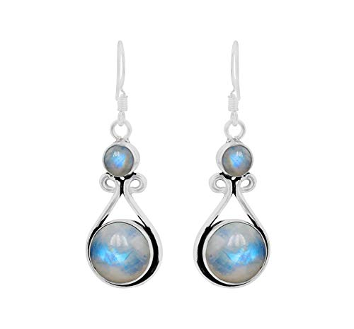 Genuine Round Shape Rainbow Moonstone Dangle Earrings 925 Silver Overlay Handmade Fashion Jewelry For Women Girls