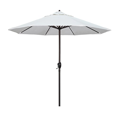 California Umbrella 9′ Round Aluminum Market Umbrella, Crank Lift, Auto Tilt, Bronze Pole, White Olefin