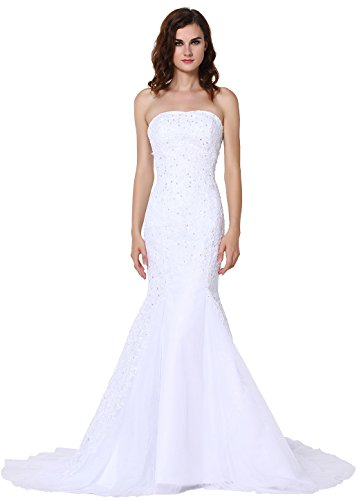 VEGERON Women's Strapless Beaded Mermaid Lace Bridal Wedding Dress Formal Gown