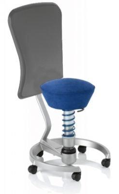 Aeris Swopper Classic - Bezug: Microfaser / Royal-Blau | Polsterung: Tempur | Fußring: Titan | Universalrollen für alle Böden | mit Lehne und grauem Microfaser-Lehnenbezug | Körpergewicht: MEDIUM