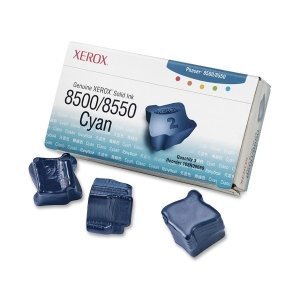 Xerox Cyan Solid Ink. 3 STICKS CYAN SOLID INK FOR PHASER 8500/8550 GENUINE XEROX SISUPL. Solid Ink - 3000 Page - Cyan 8550 Cyan Solid Ink