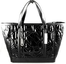 DKNY Womens Large Patent Quilted Black LOGO Tote, Shopper Handbag, Laptop Bag, Womens Tote