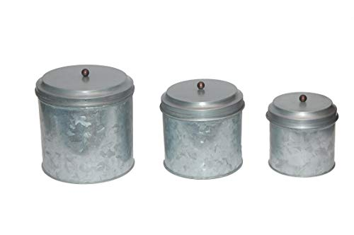 Lidded Canister - Benzara AMC0015 Galvanized Metal Lidded Canister with Ball Knob, Set of Three, Gray