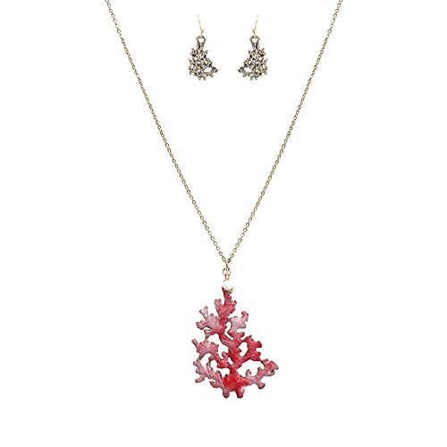 (Wonderent Pink Sea Coral Reef Fashion Pendant Necklace)