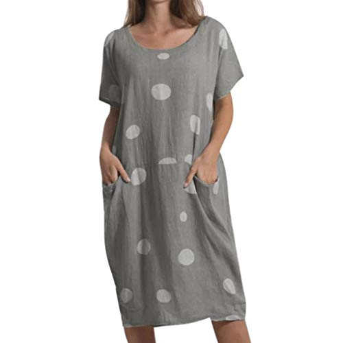 TIANMI Women Fashion Polka Dot Short Dresses Round Neck Pocket Casual Loose Dress(Dark Gray,L3)