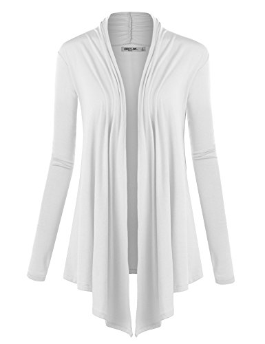 LL WSK850 Womens Draped Open- Front Cardigan L WHITE