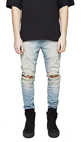 Slim Fit RT Jeans Ripped Pants Denim Distressed Vintage Stretch Ropa Fashion Casual Stretch Destroyed Denim Pantalones Blau