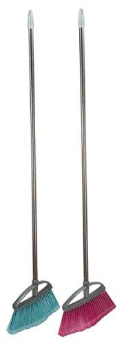 Home Basics PB41206 Plastic Long Handled Angled Broom - Pink