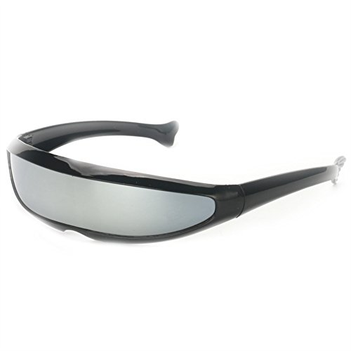 Futuristic Narrow Cyclops Sunglasses UV400 Personality Mirrored Lens
