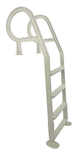 Champlain In-pool Plastic Ladder for Above Ground Swimming Pools| White | Heavy Duty | Fits 48-54-Inch High Decks | Won't Corrode | Perfect for Salt Water (Above Ground Decks)